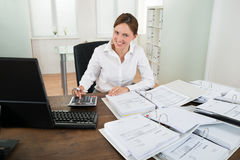 Businesswoman Calculating Financial Data At Desk Stock Images