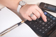 Businesswoman. Calculator Royalty Free Stock Photos