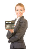 Businesswoman with calculator Stock Images