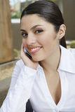 Businesswoman On Call Royalty Free Stock Image