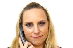 Businesswoman in call center isolated Royalty Free Stock Photography