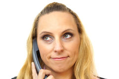 Businesswoman in call center isolated Stock Photography