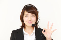 Businesswoman of call center  showing perfect sign Stock Image