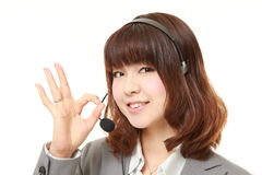 Businesswoman of call center showing perfect sign Royalty Free Stock Images