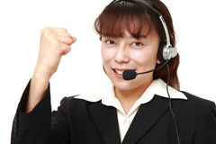 Businesswoman of call center in a victory pose Stock Photo