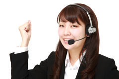 Businesswoman of call center in a victory pose Stock Images