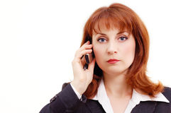 Businesswoman calling cellphone Royalty Free Stock Photos