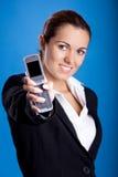 Businesswoman calling at phone Stock Photo