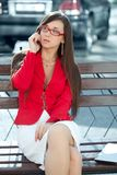 Businesswoman  calling by phone Stock Photo