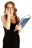 Businesswoman calling by phone and smiling Stock Images