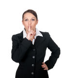 Businesswoman calls for calm Royalty Free Stock Photos