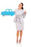 Businesswoman car symbol Stock Photos