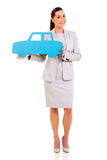 Businesswoman car symbol Royalty Free Stock Photos