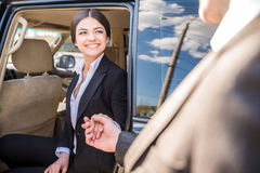 Businesswoman in the car Royalty Free Stock Photography