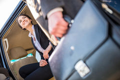 Businesswoman in the car Stock Photos
