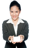 Businesswoman With Card Royalty Free Stock Photography