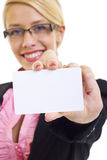 Businesswoman with card Royalty Free Stock Images