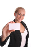 Businesswoman with card 4 Stock Photo