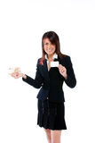 Businesswoman with card and money Royalty Free Stock Image