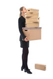 Businesswoman with cardboard Royalty Free Stock Image