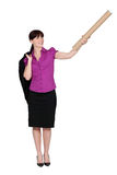 Businesswoman with cardboard tube. Businesswoman holding a cardboard tube Royalty Free Stock Photos