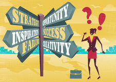 Businesswoman at Career Sign Post Dilemma. Stock Images
