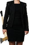 Businesswoman carrying an axe to do the chopping Stock Photography