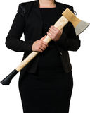 Businesswoman carrying an axe to do the chopping Royalty Free Stock Image