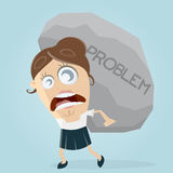 Businesswoman carrying a big problem rock Royalty Free Stock Photos