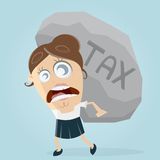 Businesswoman carrying a big tax rock Stock Photography