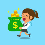 Businesswoman carrying money bag Royalty Free Stock Photo