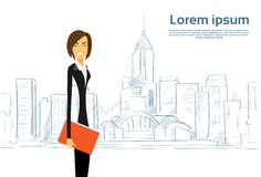 Businesswoman Cartoon over Sketch City Skyscraper Royalty Free Stock Photography