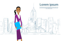 Businesswoman Cartoon over Sketch City Skyscraper Royalty Free Stock Image