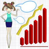 Businesswoman cartoon and red graph Stock Photo