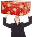 Businesswoman catching gift Royalty Free Stock Photo