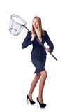 Businesswoman with catching net on the white Stock Image