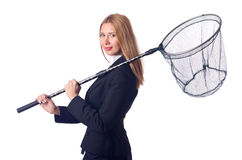 Businesswoman with catching net on the white Royalty Free Stock Photography