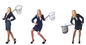The businesswoman with catching net on white Stock Photos