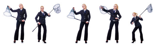 The businesswoman with catching net on white Stock Images
