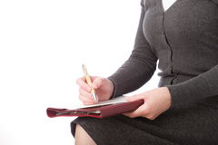 Businesswoman caucasian chief  conceptual contract Stock Image
