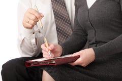 Businesswoman caucasian chief  conceptual contract Stock Photos
