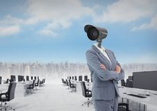 Businesswoman with CCTV head in office above city skyline. Digital composite of Businesswoman with CCTV head in office above city skyline Royalty Free Stock Photography