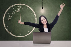 Businesswoman celebrate time to win in 2015 Stock Images