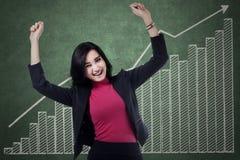 Businesswoman celebrates her achievement 2 Stock Photo