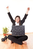 Businesswoman celebrating Royalty Free Stock Photography