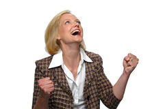 Businesswoman celebrating Stock Photos
