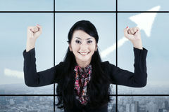 Businesswoman celebrating her accomplishment 1 Stock Photo