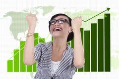 Businesswoman celebrating her achievement Stock Photo