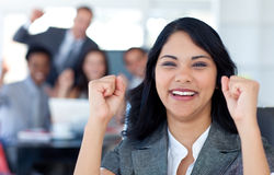 Businesswoman celebrating a success Stock Photo