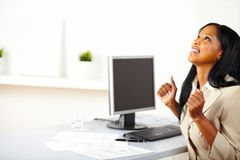 Businesswoman celebrating the success Royalty Free Stock Images